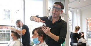 The Ross Charles hair salon in York on the first day of lockdown easing. - www.salonbusiness.co.uk
